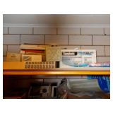 CASSETTE RECORDER IN BOX, AND OFFICE SUPPLIES.