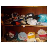 LARGE GROUP OF HATS AND 2 SHOE RACKS.