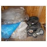 TARPS AND ASSORTED TRACTOR WHEELS AND RIMS