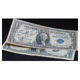 2 ONE DOLLAR SILVER CERTIFICATES: 1935-A, 1957-B