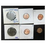 2 WORN LARGE CENTS AND 4 LINCOLN CENTS