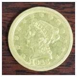 1843-O CORONET HEAD $2 1/2 GOLD COIN