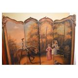 4 PANEL PRIVACY SCREEN, HANDPAINTED, VICTORIAN