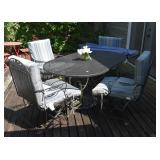 PATIO TABLE & CHAIR SET WITH UMBRELLA, WROUGHT