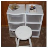 2 ROLLAROUND BOXES AND STOOL