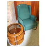 GREEN QUEEN ANN CHAIR AND GLASS TOP ROUND TABLE