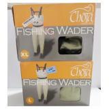 2 CHOTA FISHING WADERS - LARGE AND EXTRA LARGE
