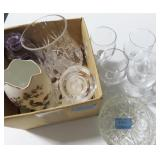 CUT GLASS BOWL, WINE GLASSES AND OTHER CRYSTAL