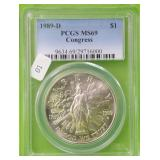 1989 CONGRESS SILVER DOLLAR PCGS MS69