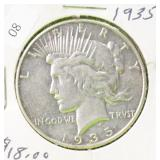 1935 PEACE DOLLAR VF