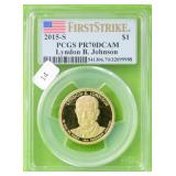 LYNDON JOHNSON DOLLAR PCGS PF70DC