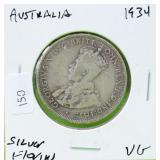 AUSTRALIA 1934 SILVER FLORIN VG