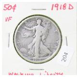 1918 D WALKING HALF DOLLAR F