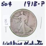 1918 WALKING HALF DOLLAR VG