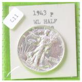1943 WALKING HALF DOLLAR AU