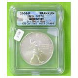 FRANKLIN SILVER DOLLAR ICG MS70