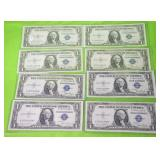 8 CONSECUTIVE SERIAL # 1935 SILVER CERTIFICATES