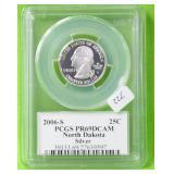 2006S N DAKOTA SILVER QUARTER PCGS PF 69DC
