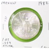 1982 MEXICO 1 OZ .999 SILVER ONZA GEM