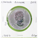2012 CANADA COUGAR 1 OZ .9999 SILVER GEM
