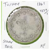 1861 TURKEY SILVER 20 KURUSH XF
