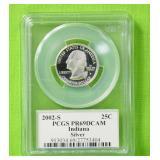 2002 S INDIANA SILVER QUARTER PCGS PF69DC