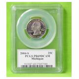 2004 S MICHIGAN QUARTER PCGS PF69DC