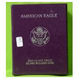 1989 S PROOF SILVER EAGLE W BOX PAPERS
