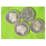 4 1OZ .999 SILVER ROUNDS