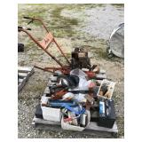 PALLET WITH TILLER, CHAIN SAW, AND ASSORTED TOOLS