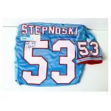 Autographed Stepnoski - TN Oilers football jersey