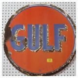 "VINTAGE ""GULF"" SIGN - 25 1/2"" DIAMETER SINGLE"