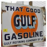 "ADVERTISING SIGN ""THAT GOOD GULF GASOLINE"" ""GULF"