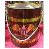 VINTAGE METAL INSULATED BARREL WITH EAGLE DECAL