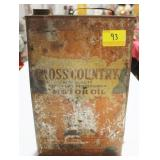 "VINTAGE ""CROSS COUNTRY"" MOTOR OIL CAN SOLD"