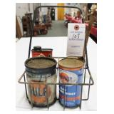 VINTAGE OIL CARRY WITH ADVERTISING CANS GULF,