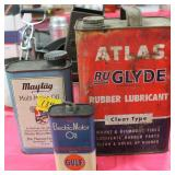 3 ADVERTISING CANS ATLAS RUBBER LUBRIBANT, MAYTAG