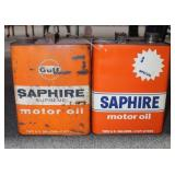 2 VINTAGE GULF SAPHIRE MOTOR OIL CANS
