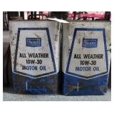 2 VINTAGE SEARS ALL WEATHER 10W-30 MOTOR OIL CANS