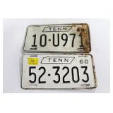 2 - 1960 TENNESSEE LICENSE PLATES