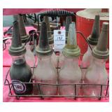VINTAGE 8 GLASS QUART OIL BOTTLES WITH SPOUTS AND