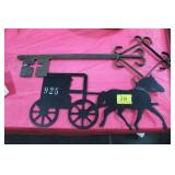 ORNAMENTAL IRON KEY AND HORSE/BUGGY IRON CUT OUT