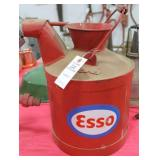 VINTAGE METAL WATER CAN WITH ESSO DECAL EMBOSSED: