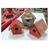 3 CRAFT MADE VINTAGE BIRD HOUSES