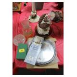 GROUPING: BIRD CLOCK, JUICE CARAFFE, CANDY DISH,