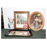 ADVERTISING PICTURE, TRAYS AND TIN COCA-COLA AND