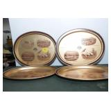 4 TIN ADVERTISING TRAYS FROM THE BANK OF