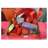GROUPING OF RED KITCHENWARE AND UTENSILS
