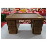 OAK LAP DESK WITH 4 DRAWERS