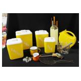 GROUPING: VINTAGE CANISTER SET, PLASTIC PITCHER,